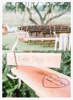 Wooden Swing Guest Book Idea. Photo by Pasha Belman