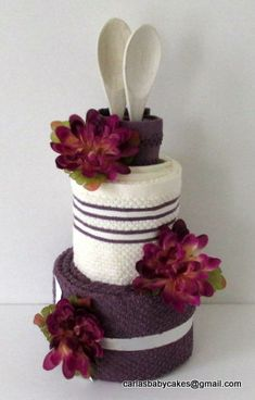 Kitchen Towel Cake - Bridal Shower Gift - Housewarming Gift - Wedding Towel Cake - Just Because Gift - Mother's Day Gift Wedding Towel Cakes, Diy Wedding Cake, Gift Wedding, Kitchen Towel Cakes, Kitchen Towels, House Gifts, New Home Gifts, Bolo Artificial, New Kitchen Diy
