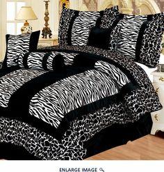 11 Piece Queen Giraffe/Zebra Black and White Micro Fur Bed in a Bag Set