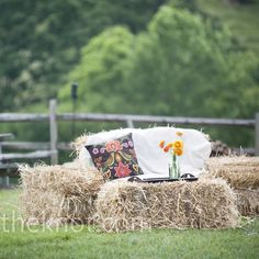 Like the idea of bales of hay .... Around a firepit, great in the fall with flannel blankets on them (so you don't get itchy