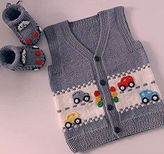 Very Stylish Fashion Car Knitted Vest Model Narrated Illustrated Construction Baby Boy Knitting Patterns, Baby Hat Patterns, Knitting For Kids, Crochet For Kids, Knit Patterns, Free Knitting, Crochet Baby, Knitted Baby Cardigan, Knit Baby Sweaters