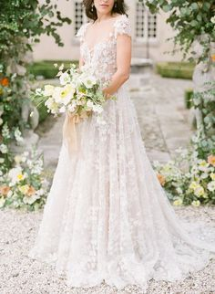 French garden wedding goodness at a dreamy chateau. Such a elegant, old world inspired fine art wedding! I love the romantic dress with full skirt and. Garden Wedding Dresses, Elegant Wedding Gowns, Country Wedding Dresses, Elegant Wedding Dress, Designer Wedding Dresses, French Wedding Dress, Wedding Flowers, Garden Wedding Inspiration, Wedding Ideas