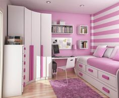 Catchy Pink White Girls Bedroom Interior Design For Teens In Small Space With Space Saver Furnitures Featuring White Bed With Storage And Drawers And Corner Wardrobe And Simple Study Desk Also White Wall Shelves And Pink White Striped Wall Paint Decor And Pink Fur Rug And Parquet Wood Flooring Idea