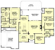 European Style House Plan - 4 Beds 2.5 Baths 2506 Sq/Ft Plan #430-103 Main Floor Plan - Houseplans.com