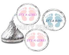 BABY SHOWER FEET FOOTPRINTS IT'S A BOY IT'S A GIRL LABELS FITS HERSHEYS KISSES   eBay
