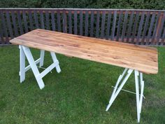 Pittwater Online News Deck Table, Picnic Table, Dining Table, Trestle Table Plans, Trestle Tables, Recycled Furniture, Diy Furniture, Diy Table Legs, Butcher Block Tables