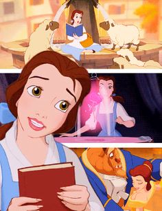 Places Belle was in the movie-alone with the town sheep, curious about her surroundings, and close with the beast, all the while being her upfront self (just some symbolism behind each image)