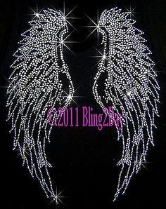Angel Wings Rhinestone Iron on Transfers Hot Fix Bling   eBay