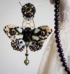 Купить Carnivora Deliah - черный, золотой, оливковый, зеленый, хаки, бабочки, бабочки серьги