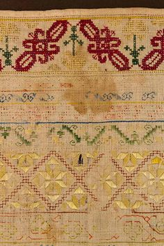 TWO LINEN NEEDLE WORK SAMPLERS, c. 1700 & 1835