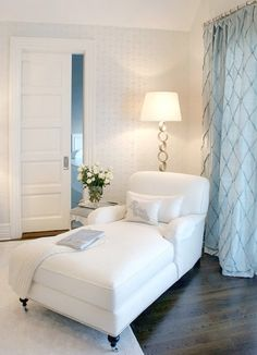 The look of a chaise for your master bedroom. I think two chairs could be better unless you see you guys using it more with a chaise. Bedroom Corner, Home Bedroom, Bedroom Decor, Bedroom Ideas, Bedroom Seating, Chaise Lounge Bedroom, Corner Nook, Master Bedrooms, Peaceful Bedroom