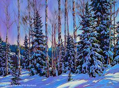 Paintings - David Langevin Artworks Inc. Painting Snow, Winter Painting, Canadian Painters, Canadian Artists, Winter Trees, Winter Art, Landscape Art, Landscape Paintings, Landscapes