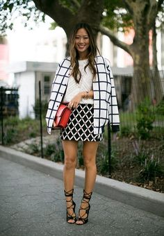 The perfect ensemble! Chic stripes + strappy heels.