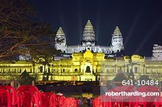 Angkor Wat Temple, UNESCO World Heritage Site, at night, lit for a special light show, Siem Reap, Cambodia, Indochina, Southeast Asia, Asia