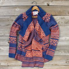 Wood Sled Sweater in Rust, Rugged native cardigan from Spool 72