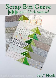 Scrap Bin Geese quilt block tutorial from A Bright Corner Here's what you'll need for one block: 12 square) green print scraps 6 x gray print strips 6 x low volume strips Quilting Tutorials, Quilting Projects, Quilting Designs, Craft Projects, Project Ideas, Quilting Tips, Craft Ideas, Small Quilts, Mini Quilts