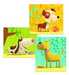 Djeco Progressive Puzzles, Primo Dogs: This set includes three different very colorful puzzles of various sizes. Includes one each of 4 pc, 6 pc and 9 pc dog puzzles. Dog Puzzles, Jigsaw Puzzles, Toys Online, Cartoon Dog, Fall Sweaters, T Shirts With Sayings, Pikachu, Dogs, Gifts