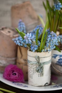 Muscari, also known as grape hyacinth.  Brings back such sweet memories from my childhood!