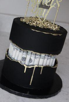 Fault line cake, black cake, money Birthday Cake Crown, Alcohol Birthday Cake, Money Birthday Cake, Creative Birthday Cakes, Elegant Birthday Cakes, Custom Birthday Cakes, Money Cake, Beautiful Birthday Cakes, Creative Cakes