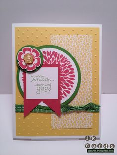 Stampin' Up!, Mojo 240, Sneak Peek, Betsy's Blossoms, Petite Pairs, Floral District DSP, Gumball Green Stitched Grosgrain Ribbon, Brights Designer Buttons
