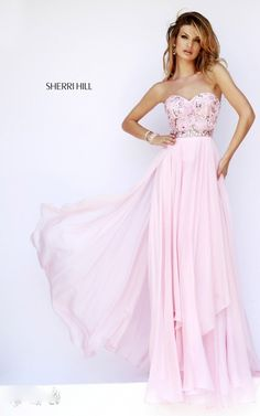 Chiffon Strapless 1943 Sherri Hill Pink Prom Dress