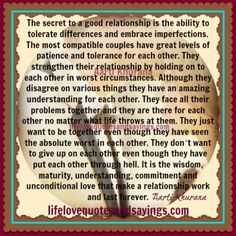 The Secrets Of A Good Relationship...