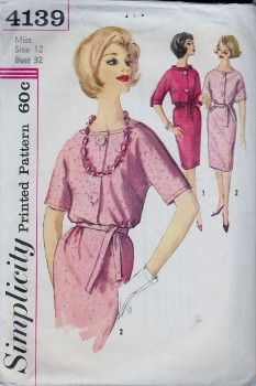 Simplicity 4139 Misses Shirtwaist Dress Vintage 1960's Sewing Pattern #1960s #dress #ladies #simplicity #vintage #patterns #sewing #retro #vintagestitching