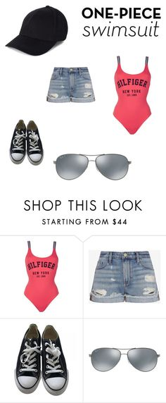 """""""One Piece Swimsuit Challenge"""" by daceymiller ❤ liked on Polyvore featuring Tommy Hilfiger, Frame Denim, Converse, Ray-Ban and onepieceswimsuit"""