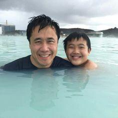 Soaking in geothermal Blue Lagoon
