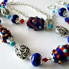 Lampwork beaded necklace and earrings, cobalt blue, red, turquoise, orange, silver necklace, beaded jewelry Italian Pottery..Amalfi