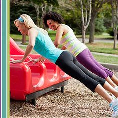 Exercise and have fun while at the playground with the kiddos!  The workout -- using standard playground equipment and gear -- burns calories and helps tone muscles. Moderate aerobic exercise also helps lower blood sugar levels. Great way to get a workout in while letting the kids have fun and burn off energy. Best of both worlds!