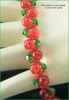 "05-400 Red Czech Druk and Seed Glass Beads with Green Bicone Bracelet along with a Heart Toggle Clasp. ""FREE SHIPPING."""