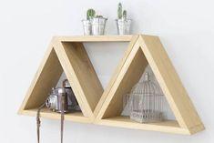 étagères murales en bois geometrique triangle simple et pas cher