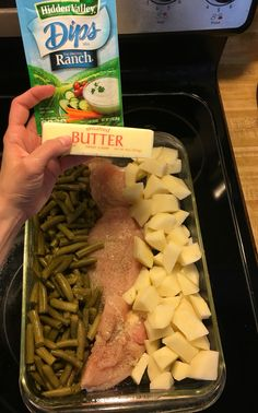 Chicken trio 1stick butter, sliced 1 packet of dry ranch mix or Italian mix 2can green beans, drained Yellow or red potatoes, diced 3 boneless chicken breasts or 6 boneless tenders  Place green beans, chicken and potatoes in 9x13 greased dish. Sprinkle with ranch mix. Top all with sliced butter. Cover and bake 350 for 1 hour #fbdinnerclub