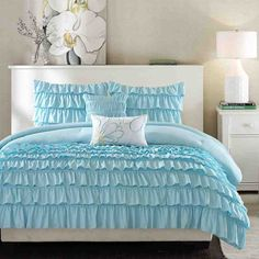 Blue ruffle bedding sets are so pretty, they work so well in a teen room or girls room. This page is loaded with blue ruffle bedding sets from different online retailers. Teen Bedding, Queen Bedding Sets, Comforter Sets, Blue Bedding, Bedroom Comforters, Chevron Bedding, Blue Duvet, Bedspreads, Intelligent Design