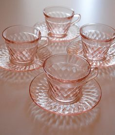VIntage Set of four pink glass coffee or tea cups and by dealorama ---> for Rylee's shabby chic birthday!