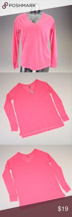 PINK Hot Pink Basic Long Sleeved V-Neck Tee Simple, cute, and comfortable. It's all you need. As is the case with many of their styles, this is made in a boyfriend fit so it would also fit a small a little closer to the body. This is brand new with tags still attached. Fabric content in the photos. PINK Victoria's Secret Tops Tees - Long Sleeve