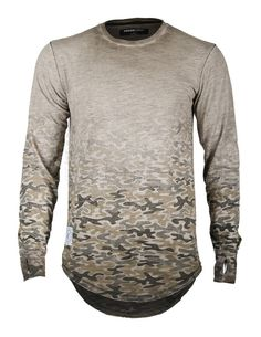 Dusty Light Brown W/Multi Color Camouflage Ombre Print