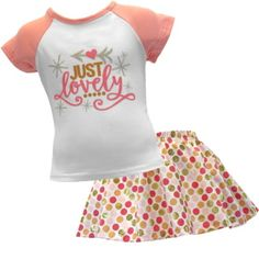 """Every Girl Needs a Cute Summer Outfit This outfit is absolutely precious! This white top with pink sleeves is features the text """"Just Lovely""""  paired with a matching polk-a-dot skirt.!  Add a knot headband to make the outfit complete. This outfit is sure to turn heads! This in style outfit is also excellent quality! This is a must for your little one's closet! This outfit is super stylish, and comfy for everyday wear! Just Lovely Skirt Boutique Outfit"""