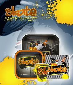 #Skateboard Party Supplies include dinner plates, dessert plates, lunch napkins, 9-oz cups, decorations, stickers, and more.