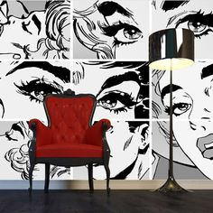 Monochrome pop art wallpaper gives the look a contemporary feel.