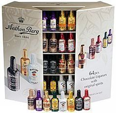 Anthon Berg Chocolate Liquor Bottles 64 Count Box. 64 Anthon Berg Chocolates bottles filled with Spirits. Assortment includes Jim Beam, Sauza, Cointreau, Canadian Club, Danzka Cranraz, Remy Martin, Galliano, and Borghetti. Makes a great holiday gift or stocking stuffer for that special someone.