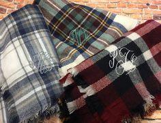 Monogram Plaid Blanket Scarf - Personalized Scarf, Teacher Gift, Blanket Scarves by DesignsbyDaffy on Etsy