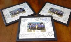 ...Team gifts...dollar store frames (turn inner frame paper over to solid side for instant mat & use glue stick to attach photo) & $.13 each team photo...each player signs every players pic at team party for a great team keepsake...the girls loved these!...cost me less than twenty five dollars, and each player got a personal gift...used 8.5x11 frames & 4x6 prints