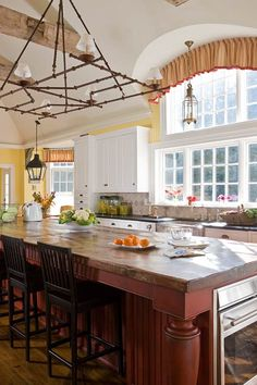More Inspiration with Colorful Kitchens | A Detailed House: Love this island and top