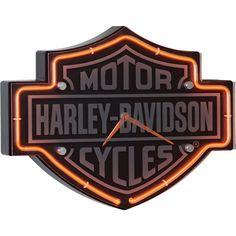 Harley-Davidson Bar & Shield Etched Neon Clock. Perfect for a garage, shop, or bar!