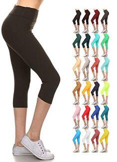 9a966c2fd08ba Leggings Depot Higher Waist Women's Buttery Soft Solid Yoga Capri Leggings  - Many Colors