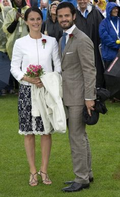 Sweden's Prince Carl Philip and his fiancee Sofia Hellqvist during the celebrations of the 37th birthday of the Crown Princess, 14.07.2014, in the city of Borgholm, on the island of Oland.