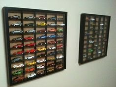 Hot Wheels Matchbox car case / shadow box made out of  Ribba 20x20 frame from IKEA and illustration board  - I'm sooo doing this idea