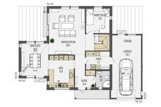 Ett spännande och modernt hus med inspirerande exteriör och en insida som garanterat stimulerar fantasin. Husets ovanliga form möjliggör skyddade uteplatser i flera väderstreck och invändigt öppnar det för volym, ljus och fin kontakt mellan våningsplanen. Söderviken är ett hus med mycket speciell karaktär, utformat för både gemenskap och avskildhet. House Layouts, New Homes, House Ideas, Floor Plans, How To Plan, Sims 4, Houses, Future, Blog